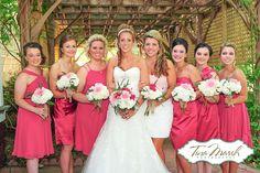 Fuchsia/hot pink bridesmaid dresses :: Featured on the TriadWeddings Blog