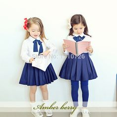 korean design preppy style girl kids toddler bow dress japan school uniform