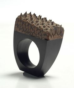 2Roses Jewelry, Banksia Ring, outer skin of the banksia pod + ebony