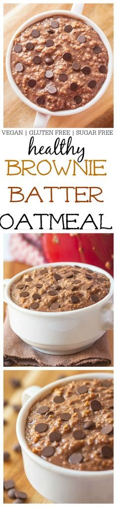The Ultimate {Healthy!} Brownie Batter Oatmeal- This healthy vegan brownie batter oatmeal is just like having dessert for breakfast and requires no effort but some simple prep the night before! High in protein, gluten free and with a sugar free option- Give your breakfast a sweet start! @thebigmansworld - thebigmansworld.com Healthy Vegan Brownies, Healthy Desayunos, Healthy Desserts, Vegan Recipes, Cooking Recipes, Protein Recipes, Free Recipes, Quick And Easy Breakfast, Free Breakfast