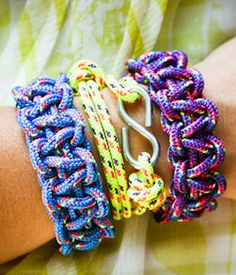 Paracord Bracelets!  We have made these at scout events with whistles attached.  The kids at VBS loved them too, especially the teenagers.