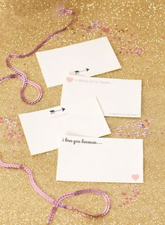 """Printable """"I love you because"""" notecards. Perfect for tucking under a pillow."""
