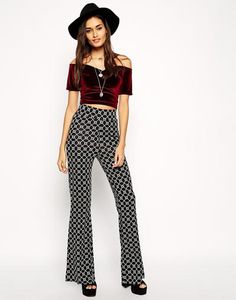 ASOS Flare Trousers in Geo Print at asos.com #pants #covetme