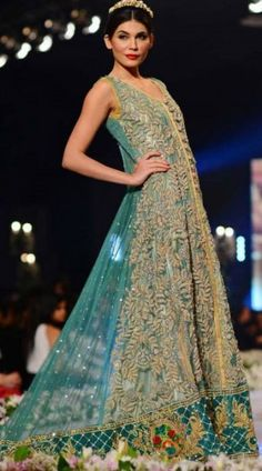 pakistani dresses for sale in usa | Sea Green Embroidered A-Line With Tail Crinkle Party Dress