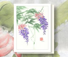 Watercolor Chinese Brush Painting Card Wisteria by Vartus on Etsy, $3.50