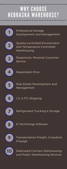 All the benefits of working with Nebraska Warehouse for your supply chain and logistics needs! Warehouse Management, Real Estate Development, Commercial Real Estate, Supply Chain, Nebraska