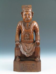 Antique Chinese Carved Wood of Court Figure. Ht: 13 inches.