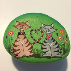 Custom Order - Painted Rock - adorable wedding cats - love - bright - whimsical art - cheerful - sweet - anniversary
