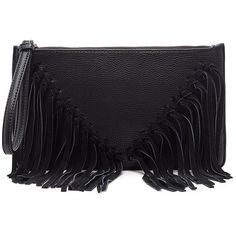 Sole Society Carmela Clutch With Suede Fringe (185 SAR) ❤ liked on Polyvore featuring bags, handbags, clutches, black, fringe clutches, black fringe handbag, black fringe purse, black clutches and black purse