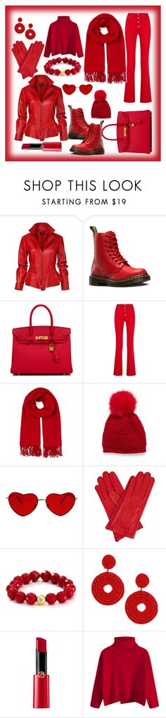 """Simply Red"" by airsunshine on Polyvore featuring Dr. Martens, Hermès, Sonia Rykiel, Whistles, Gizelle Renee, Bourbon and Boweties, Kenneth Jay Lane and Giorgio Armani"