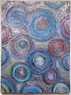 Abstract Circles Textured Original Acrylic by HeatherMontgomeryArt, $115.00