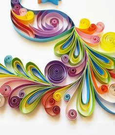 Quilled Paper Art: Colourful Peacock Handmade