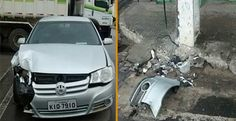 Jacobina - Condutor perde controle de veículo e colide em poste na Praça da Matriz