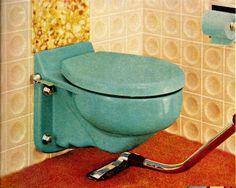 Blue mid century toilet by Crane Plumbing 1958 http://www.retrorealtygroup.com #retrobathroom #retrohome #retrorenovation