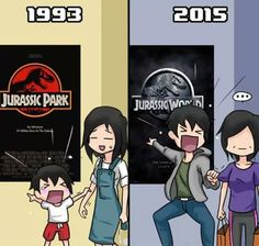 Jurassic park in 1993 and Jurassic World 2015