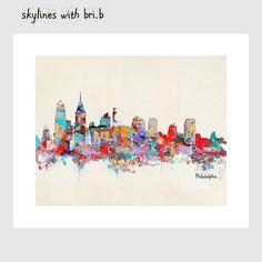 Philadelphia city skyline .modern pop art by oxleystudio on Etsy
