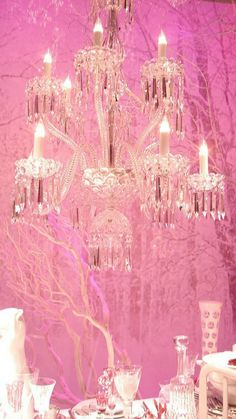 ♥chandelier and pink background♥