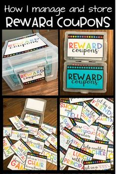 How to Manage Student Rewards I love using a variety of fun and free classroom rewards! Rewards help with classroom management-- they also go great with Class Dojo! Learn a simple, easy, and cheap way to manage and store classroom coupons. Free Classroom Rewards, Class Dojo Rewards, Classroom Reward System, Classroom Prizes, Classroom Economy, Student Rewards, Classroom Management Strategies, 5th Grade Classroom, School Classroom