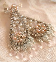 Blush Pink Wedding Earrings by Edera Jewelry / Silver Lace and Pearl Chandeliers / Vintage Rhinestones / Floréal