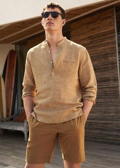 Casual line linen Regular fit Mao neckline Welt pocket on the chest Long sleeve Rounded cuff with two button fastening Button up Mens Linen Outfits, Mens Linen Shirts, Casual Shirts, Casual Outfits, Casual Wear, Kurta Men, Mens Fashion Suits, Mens Clothing Styles, Streetwear