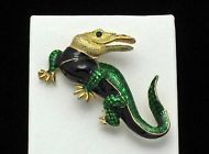 Vintage 1960's  Gold Plated Enamel Rhinestone  Figural Alligator Brooch