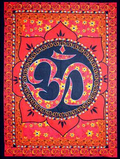 Om Lotus - Red - Tapestry Hang on easy up for shelter from sun and an easy way to spot your campsite!