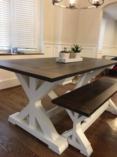 Free Local Delivery (Read Table Description for Details) – Freight Shipping Not Available – farmhouse dining table Farmhouse Table Plans, Farmhouse Kitchen Tables, Diy Kitchen Tables, Kitchen Table With Bench, Trestle Table Plans, Farm Table Plans, Kitchen Craft, Country Kitchen, Kitchen Ideas