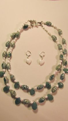 Green Aventurine double strand necklace with mother of by yasmi65, $28.00