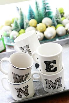 DIY Monogram Mugs - I like this style.