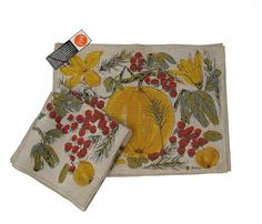 Vera Neumann Belgian Linen Screen Print Placemats and Napkins - Full Set with original tags - offered by UncommonEye - Festival Fruits and Flowers