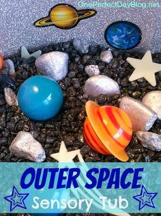 {Space Themed Sensory Tub} Take off!