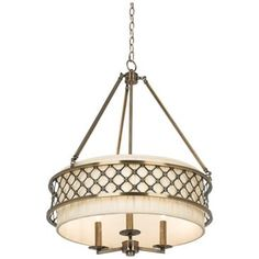"Antique Brass over Fabric Shade 24"" Wide Pendant Chandelier $100 Lamps Plus"