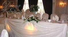 wedding reception head table flowers