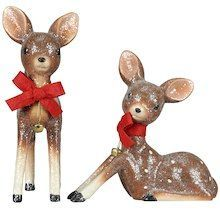 """Tabletop Vintage Deer Decor Accent By Ashland™ This adorable vintage-inspired decor accent by Ashland will beautifully complement your Christmas decoration. Place this cute little deer on your mantelpiece along with some pinecones and candles.  Details: Available in 2 assorted styles Brown, red and white 7.75"""" x 3.75"""" x 9.5"""" or 6"""" x 3.5"""" x 8"""" Polyresin, natural stone powder, gypsum, polyester and bell $14.99 (on sale for $7.99)"""