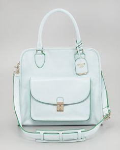 Tory Burch Priscilla Pocket Tote Bag, Emerald - Neiman Marcus