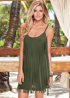 MINI FRINGE DRESS in Olive, sale $29, orig $36