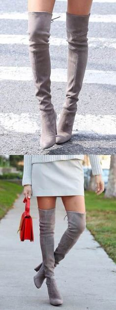 Gray Over the Knee Boots Stretch Suede Laced Back High Heels