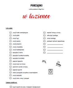 Porządki w łazience to kolejna checklista, która pomoże Wam ogarnąć dom. Sprzątajcie z perfekcyjną w domu, a będziecie mieć czysty dom. Cleaning Checklist, Cleaning Hacks, Organization Bullet Journal, Minimal Living, Home Organisation, Brain Dump, Cleaning Business, Diy Arts And Crafts, Bullet Journal Inspiration