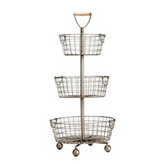 Southern Living Tiered Wire Basket, Possible inspiration for dresser-top storage. At $89, too expensive, but maybe can find a cheaper version.