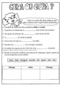 Atividades Sobre Ditongo Tritongo E Hiato Encontros Vocalicos Em