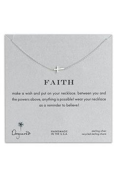Women's Dogeared 'Reminder - Faith' Boxed Sideways Cross Pendant Necklace from Nordstrom