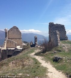 Decaying: Now all the remains are the crumbling ruins, home to dogs and sheep