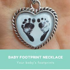 2-D Baby on Board Sign with Foot Print Custom Year Stainless Steel Heart Bead Charm