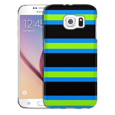 Samsung Galaxy S6 Preppy Stripes Green Black Blue Slim Case