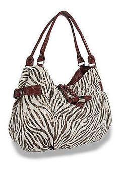 304419fd1d Metallic Zebra Hobo Shoulder Bag w Braided Leatherette Trim