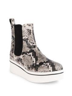 STELLA MCCARTNEY Binx Snake-Embossed Platform Boots. #stellamccartney #shoes #boots