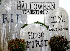 DIY #Halloween Tombstones Tutorial for CHEAP! www.firsthomelove...
