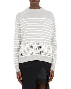 Sacai Eyelet-Panel Stripe Sweater | LuckyShops