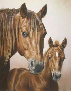 """""""Mom and Me"""" by Kaye Burian. Grounded in Reality - Spring 2007 Issue of Horses in Art Magazine"""