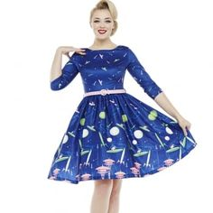 'Holly' Space Dog Print Blue Swing Dress